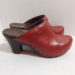 Dansko red leather clogs